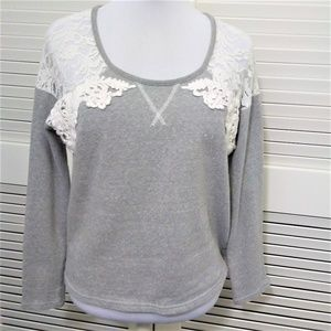 Miss Me Long Sleeve Sweatshirt with Lace Detail